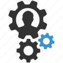 cog, man, options, process, settings, support, user icon