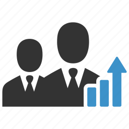 analytics, arrow, business men, growth, people, statistics, team icon