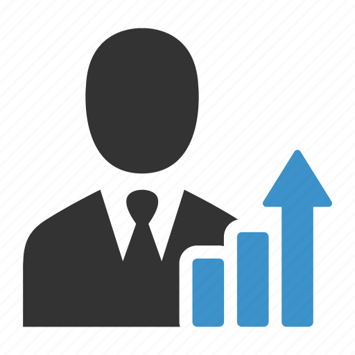 analytics, arrow, business, business man, graph, growth, statistics icon