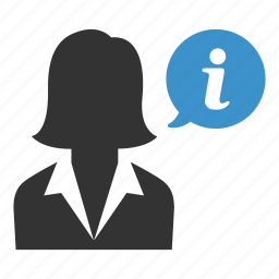 avatar, business, help, info, information, support, woman icon