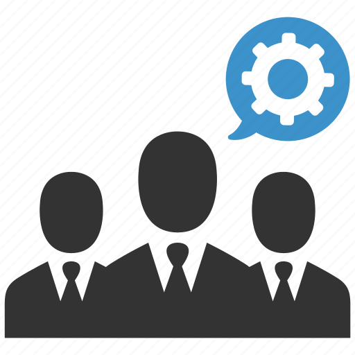 business men, gear, group, help, process, support, users icon