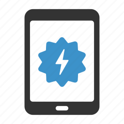 bolt, device, energy, fast, power, speed, tablet icon
