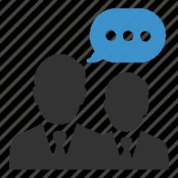 business, communication, conversation, meeting, men, negotiations, talk icon
