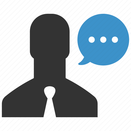 business man, chat, comment, communication, message, speech, talk icon