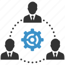 avatars, business men, cog, management, people, team, teamwork icon