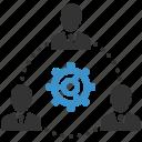 avatars, business men, cog, management, people, team, teamwork icon