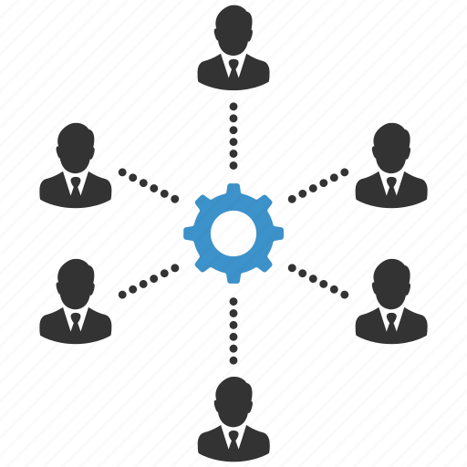cog, connection, group, people, productivity, support, teamwork icon