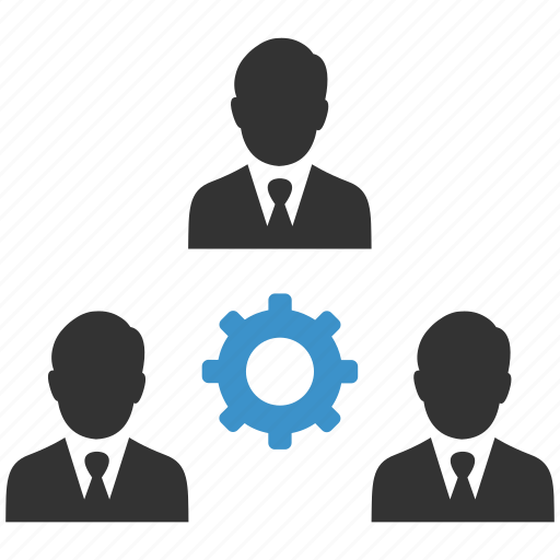 business men, cog, options, settings, support, teamwork, users icon