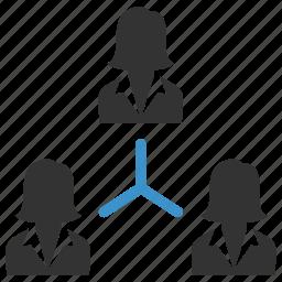 business, business group, business people, business women, hierarchy, organization, women icon