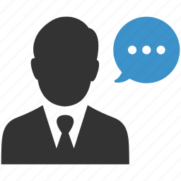 businessman, chat, comment, information, negotiations, speech, talk icon