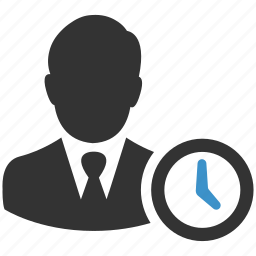 business, businessman, clock, schedule, time, user, working icon