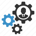 account, business, businessman, cogs, gears, settings, user