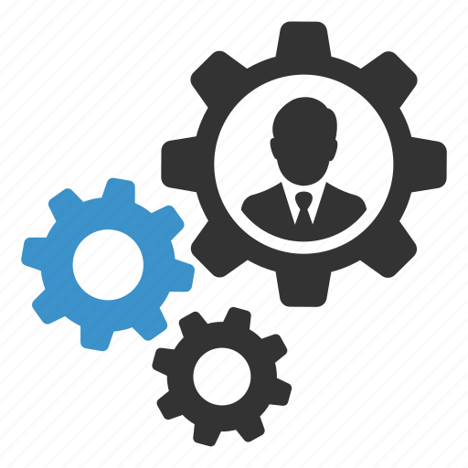 account, business, businessman, cogs, gears, settings, user icon
