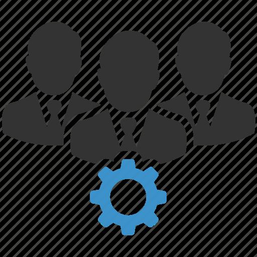 business, business people, business team, businessmen, gear, management, productivity icon