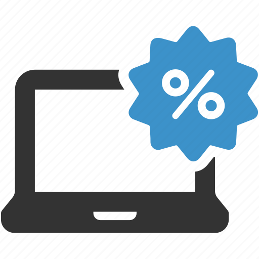 computer, discount, ecommerce, laptop, online shopping, percent, sale icon