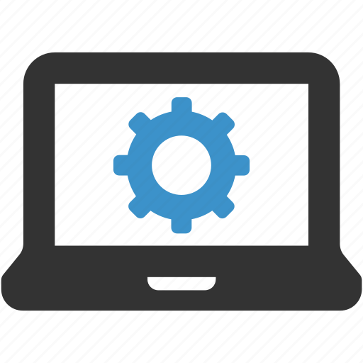 cog, computer, configuration, control, control panel, gear, laptop icon