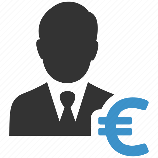 businessman, buyer, earnings, euro, finance, income, money icon