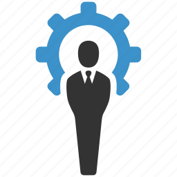 businessman, gear, management, manager, productivity, professional, seo icon