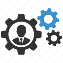 businessman, cogs, gears, management, productivity, profile, work icon