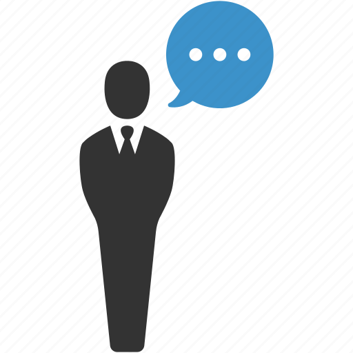 business, businessman, comment, message, speech, talk, user icon