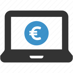 computer, earnings, euro, finance, funds, laptop, money icon