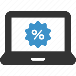 computer, discount, ecommerce, laptop, percent, sale icon