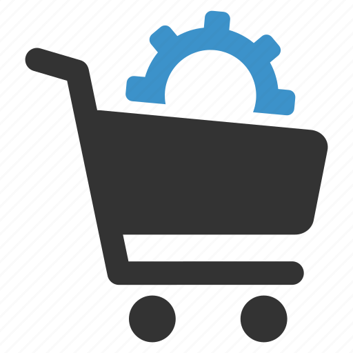 ecommerce, gear, payment options, settings, shopping, shopping cart icon