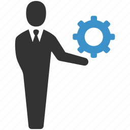 businessman, cog, gear, management, manager, productivity, support icon
