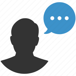 chat, comment, communication, man, message, talk, user icon