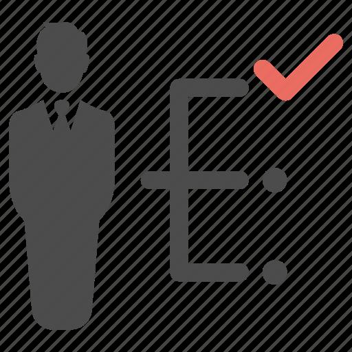 business, check, correct, decisions, man, plan icon