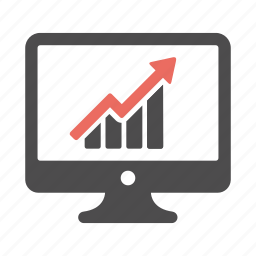 arrow, chart, computer, graph, growth, increase, monitor icon