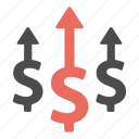arrow, dollar, finance, growth, increase, money, profit icon