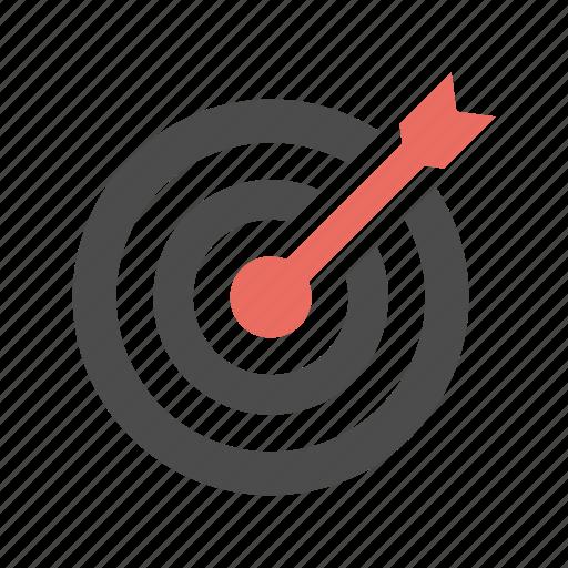 aim, arrow, center, goal, success, target icon