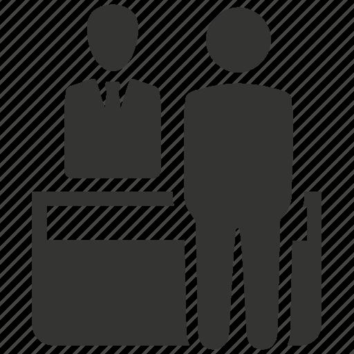 assistance, customer, desk, reception, receptionist, support icon