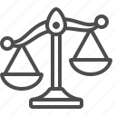justice, scales, weighing, weight scale icon
