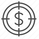 aim, business, crosshairs, dollar, goal, objective, target icon