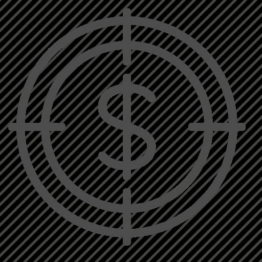aim, business, crosshairs, dollar, goal, objective, target icon