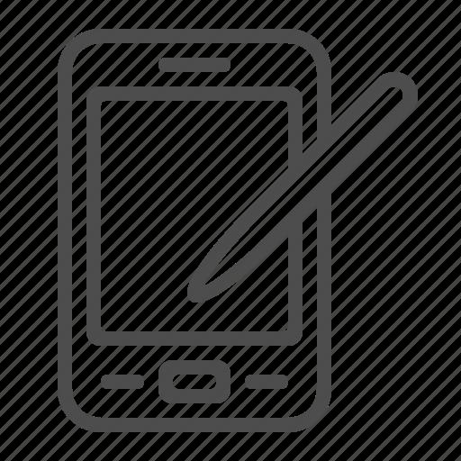 mobile phone, pda, smartphone, stylus, technology, telephone icon