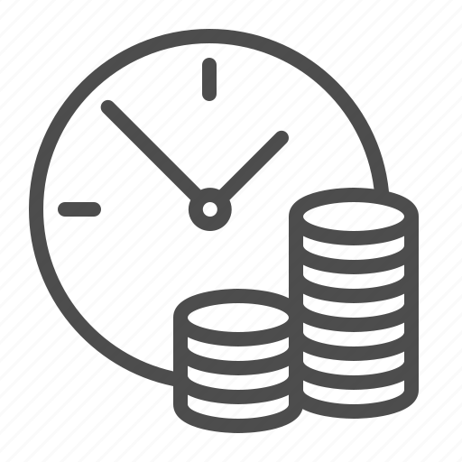 clock, coins, finance, time is money icon