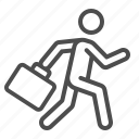 briefcase, businessman, man, running, suitcase icon