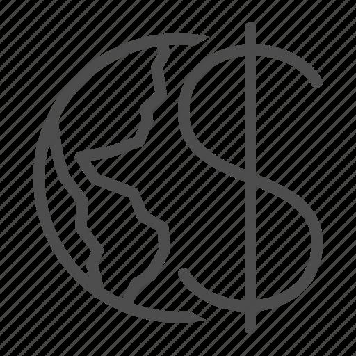 business, dollar, earth, economy, global, globe, international icon