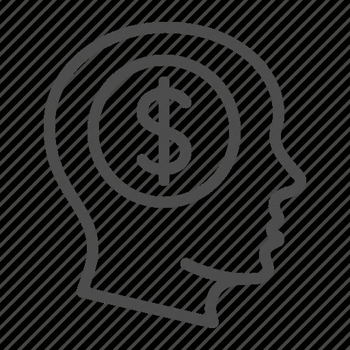 business, dollar, finance, head, idea, man, thinking icon