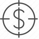 aim, crosshairs, dollar, finance, objective, target icon