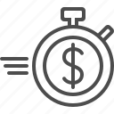 deadline, dollar, finance, speed lines, stopwatch, timer icon
