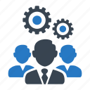 business, gear, planning, strategy, teamwork icon