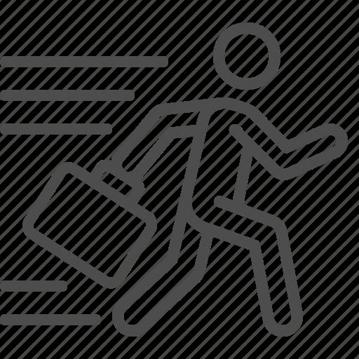 briefcase, businessman, man, running, suitcase icon