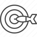 aim, arrow, bullseye, dart, target icon