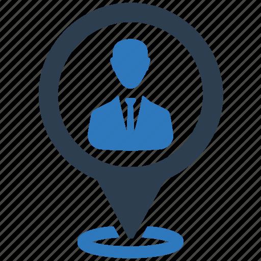 address, businessman, location, map pin icon