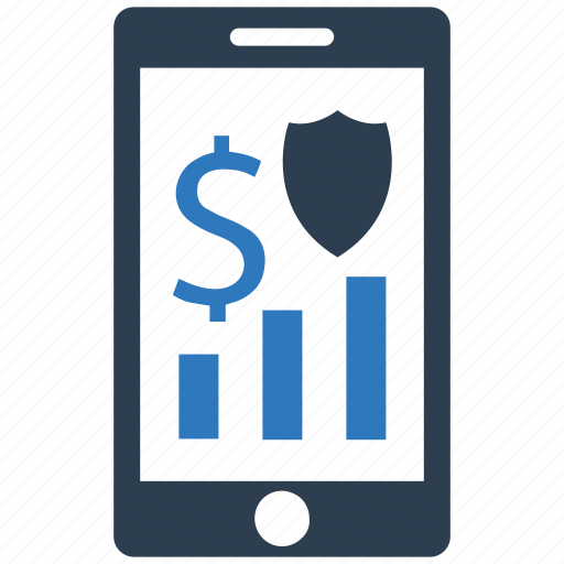 business, graph, mobile, security, shield icon