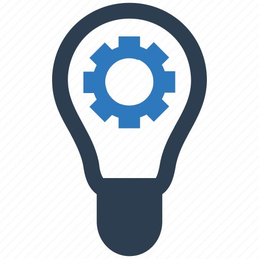 creative, gear, idea, light bulb icon